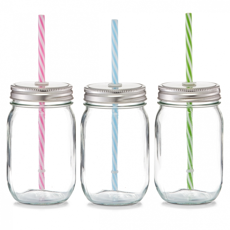 4-er Set Trinkglas mit Strohhalm Countrystyle
