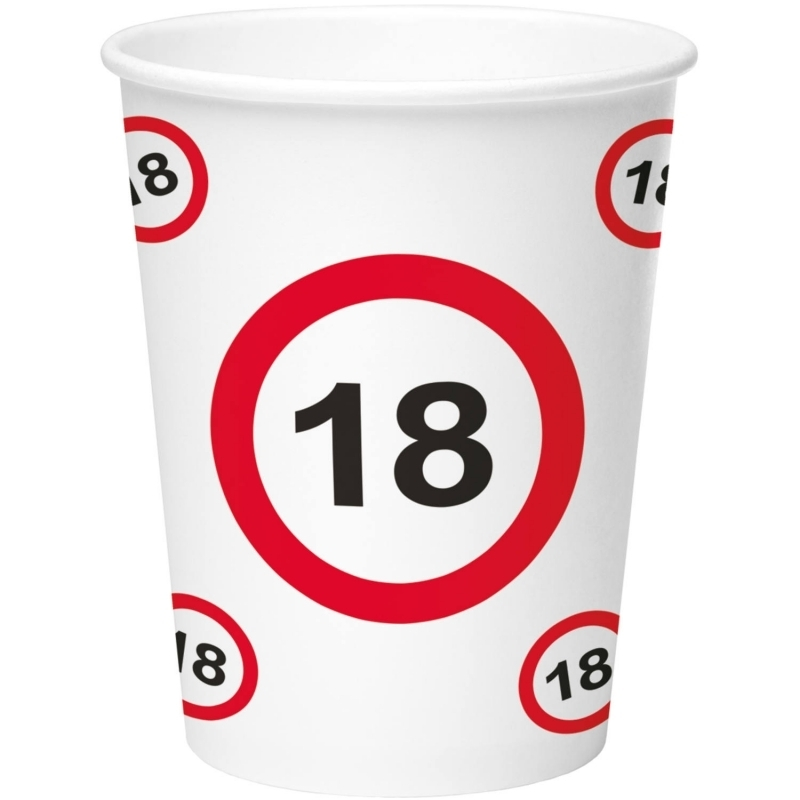 18. Geburtstag Verkehrsschild Becher