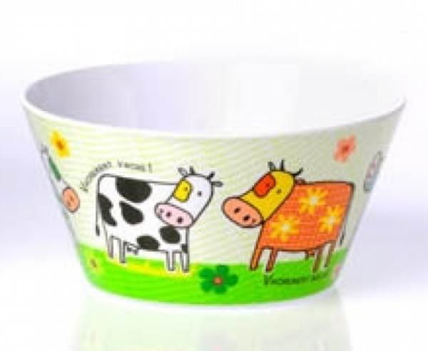 Müslischale mit lustigen Kühen