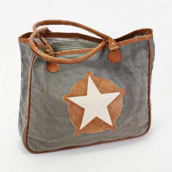 Handtasche Stern grau