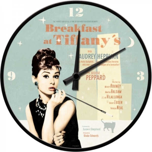 Wanduhr Breakfast at Tiffany's Blue