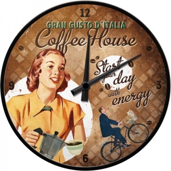 Wanduhr Coffee House Lady